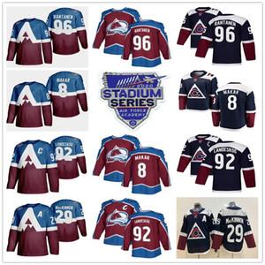 2020 Stadı Serisi Colorado Avalanche Formalar 8 Cale Makar 92 Gabriel Landeskog 29 Nathan MacKinnon 96 Mikko Rantanen Donanma Burgonya Ev
