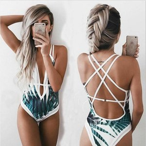 Free shipping one piece Swimsuit plus size 2019 Women jumpsuit Bikinis Bamboo leaf printing Lace up Beachwear women five colors available