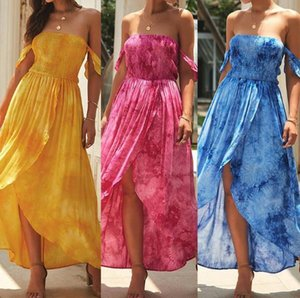 Floral Printed Womens Designer Dresses Sexy Strapless Tie Dyed Pleated Long Dresses Womens Fashion Chiffon Dresses