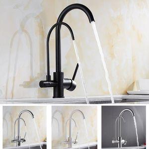 Torneiras de cozinha Latão Filtro Grua Para Kitchen Água Purificada Tap Three Ways Sink Mixer 3 Way torneira da cozinha