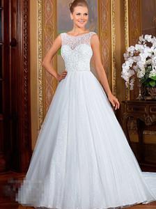 버튼 돌아 가기 민소매 웨딩 드레스 맞춤 제작 유럽 패션 특종 목 레이스 아플리케 - 라인 얇은 명주 그물 웨딩 드레스