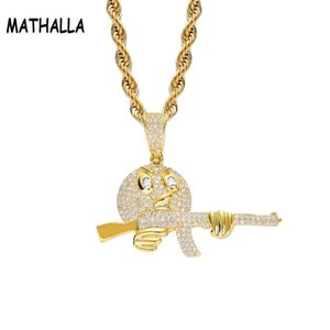 MATHALLA Cartoon Round Face With Gun Necklace & Pendant Chain Charm Gold Silver Cubic Zircon Hip hop Rock Jewelry For Gift