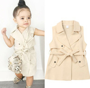 Kids outwear INS new girls lapel breasted belt vest trench coat kids designer clothing children casual coat A3100