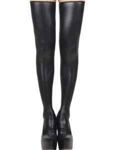 Cuero Negro Medias erótica Volver mujeres de la cremallera medias hasta el muslo de la pierna atractiva de la señora de moda Desgaste con Permanencia de silicona