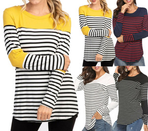 2019 NEW Frau Nursing Top Mutterschaft lose Stillen Striped Patchwork T-Shirt Kleidung Langarm-Dame T Shirts
