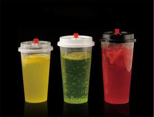 Kapak 1XD23214 ile Süt Çay Kupası Şeffaf Sıcak İçecekler Meyve suyu Kahve Mug Dayanıklı 700ml Tek Plastik Bardaklar Kalınlaşmak Enjeksiyon Isı
