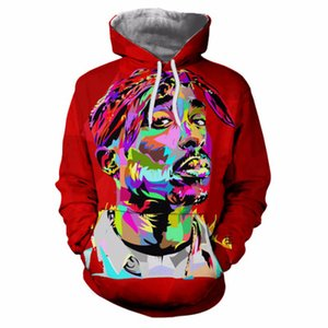 2020 Unisex 3d Hoodies Tupac Funny Face Red Character Tie Dye impressão camisolas casual Tie-dye Tops Mens Hip Hop suam Ypf722