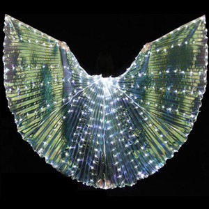 Belly Dance Wing 316 LED Ailes d'Isis 7 couleurs Lumière populaire ventre Dancing Stage Props Performance Ailes Avec / Sans Sticks