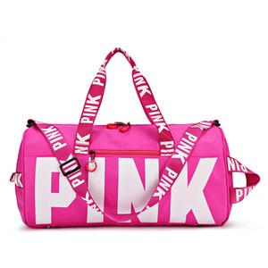 Kuru ve ıslak 2020 moda tasarım Sequins pembe harfler Gym Fitness spor çanta omuz Crossbody çanta kadın büyük el çantası çanta Seyahat Duffel Bolsa