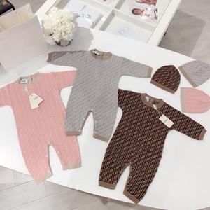 Infante recém-nascido bebê Romper menina do menino quente de primavera Outono Brasão das crianças das crianças manga comprida Knit Romper Macacão Chapéu 2pcs Outfits 0-24M