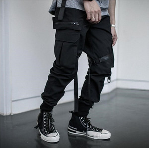 Preto Joggers Calças de Streetwear Homens multi bolso Hip Hip 2020 Ribbon Cotton Men carga Pant Calças elástico na cintura Nova