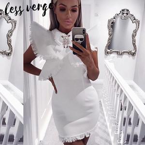 lessverge Seksi kristal püskül beyaz bandaj elbise Kadın siyah kalem BODYCON elbise Sonbahar kış kısa saçak pist femme