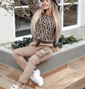 Novas mulheres moda Impresso carta treino duas peças conjunto de roupas hoodies moleton e calça ternos esportivos casuais