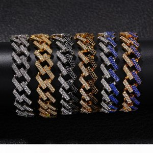 F Personality 8inch 15mm Hip Hop Punk Men &#039 ;S Bracelets Bling Iced Out Cubic Zircon Miami Curb Cuban Link Chain Bracelet Jewelry G