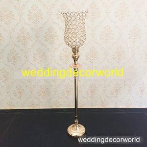 cristallo nuovo stile Gold flower candle holder stand per centrotavola da tavolo decor748