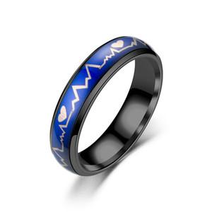 Haute qualité en forme de coeur battement de coeur Chaleur étanchéité sept anneaux de changement de couleur argent mariage thermique anneau femmes largeur de bague des hommes 8MM