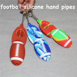 Football Silicone Hand Pipe Colored Glass Pipe Tobacco Smoking Pipe dab rig oil burner smoking accessories hand pipes