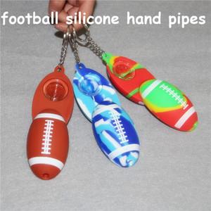 Fußball Silikon Handpfeife Farbige Glaspfeifentabak Rauchen Pfeifen tupfen Ölbrenner Rauchen Zubehör Handrohre