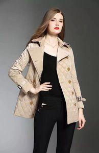 نمط جديد! أزياء المرأة إنكلترا القطن طويل المتوسطة معطف مبطن / مصمم العلامة التجارية سترة مزدوجة الصدر للنساء حجم S-XXL # 886F240