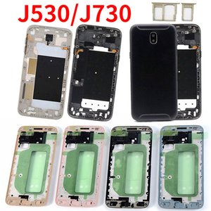Para el capítulo de Samsung J7 J5 2017 Marco J730 J530 J730F J530F embellecedor frontal de la placa frontal posterior de la carcasa del panel de batería cubierta de la puerta de cristal de la
