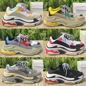 Balenciaga Triple S Platform Sneakers para hombres mujeres Chaussures Paris 17FW Triple Black Cream Yellow Red Casual Shoes Zapatos de lujo 36-45
