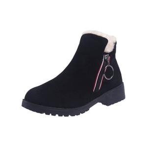 botas de moda feminina de neve 2019 inverno novo além de veludo quente botas curtas Inglaterra vento lateral cabeça redonda com zíper casuais maré sapatos de algodão