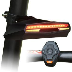 Bike Remote Control Ground Alarm Laser Break Tail light Left Right Turning Light Waterproof USB Charging bicycle emergency laser light