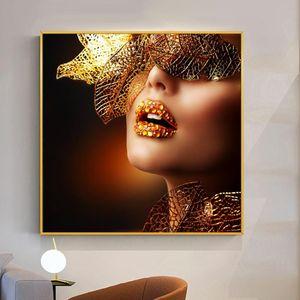 Nordic Plakat-Wand-Kunst Bilder Mode Frau Schmetterling Lippen Gold und Weiß Schwarz Modern Home Leinwand-Malerei Beauty-Hauptdekor