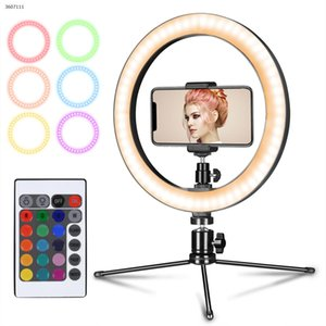 10 polegadas LED RGB Luz Anel desktop Youtube Live Streaming de Vídeo Maquiagem Fill luz selfie Anel lâmpada com tripé Phone Holder USB plug