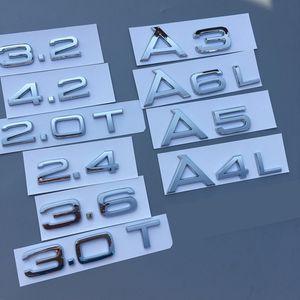 Chrome 1.8T 2.0T 2,4 3,2 3,6 4,2 3.0T A3 A4 A5 A7 A6L A8L Lettre Numéro d'emblème d'insigne Coffre de voiture Décharge Capacité Logo badge autocollant