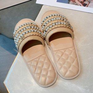 pacchetto origine perle perline scorre la catena cowskin di cuoio reale Sandali di lusso delle donne scarpe firmate bianco taglia 35 a 40 tradingbear