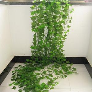 100pcs Hoja 1 Pieza 2.4M Decoración artificial Hiedra Hoja Garland plantas artificiales vid follaje de las flores de la enredadera verde Guirnalda de la hiedra