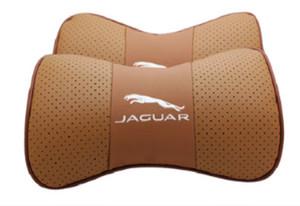 Fit For Ягуар 2Pcs натуральной кожи Автокресло шеи Подушка Подушка подголовник автомобиля