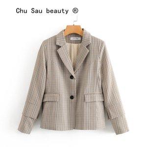 Chu Sau beauty Classic Office Lady Blazer Slim Check Single-breasted Double Sleeve Decoration Suit Jacket Casual Blazer Women