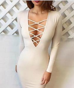 Womens Party-Kleider der Frauen Designer-Kleider mit tiefem V-Ausschnitt aushöhlen Criss Cross Sexy Kleider
