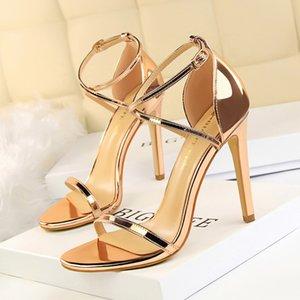 Европа и Америка Мода похудение лето на высокие каблуки обувь Тонкого Heeled Ultra-High-Heel полые из перевязи женских сандалий