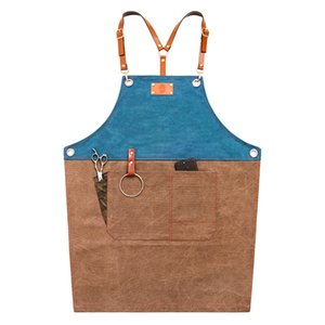 Unisex Cooking Sleeveless Denim Multifunctional Waiter Barbecue Practical Apron PU Leather Belt Vintage Kitchen Home Restaurant