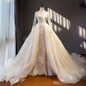 Licht Champagne Elfenbein-Hochzeits-Kleid-lange abnehmbarer Zug Hem Applikationen mit langen Ärmeln Saudi-Arabien Formal Brides Kleider Roben De Mariee