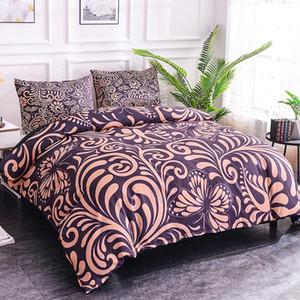 KUNQ cama Set Folha cama Queen Duvet fronha 3D Cover Impressão Digital flores e borboleta Hotel Cama Home Textiles