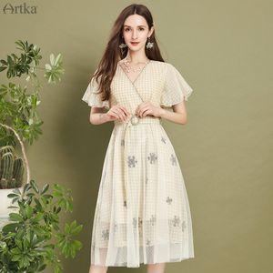 ARTKA 2020 Summer New Women Dress Elegant Embroidery Plaid Dress V-Neck Mesh With Sash Flare Sleeve Long Dresses LA20507C