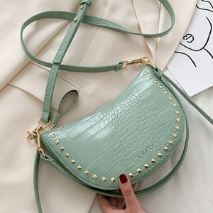 Crocodile Pattern Rivets Saddle Women Crossbody Shoulder Bags Fashion Handbags Ladies Messenger Bag Clutches Totes Female Purses