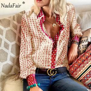 Nadafair Vintage Floral raso Camicetta Donne 2019 autunno casual top a manica lunga elegante Taglie Camicie Ufficio seta blous