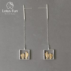 Lotus Fun real prata esterlina 925 Handmade Fine Jewelry Series Desert Cactus Design Criativo Brincos Dangle por Mulheres Bijoux