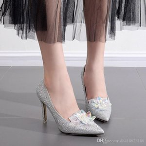 New Style Sparkling Crystal Women Wedding Shoes High Heels Bridal shoes Silver Dress Shoes QDX38