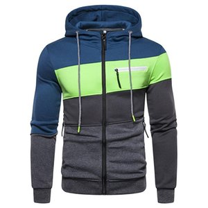 Patchwork Mens Designer Hoodies Cardigan Long Sleeve Spring Autumn Homme Hooded Sweatshirts Casual Male Clothing With Zipper