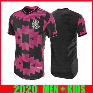 OYUNCU VERSİYONU 20 21 Meksika Futbol formaları uzakta H.LOZANO DOS SANTOS Chicharito 2020 2021 PINK SİYAH ERKEK ÇOCUK KIT futbol üniforma gömlek