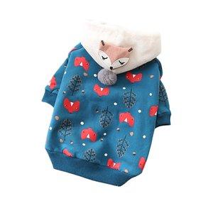Bonito Brasão Pet Cat roupas para cachorros Inverno Pet roupa morna Hoodie Dog para atacado cães de pequeno porte Animais Roupas macio Pet Vestuário buldogue francês