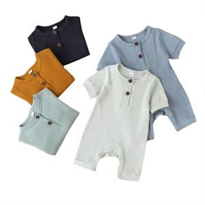 Focusnorm 0-18M Bebé recém-nascido Menino Sólidos Botão Romper algodão de manga curta Jumpsuit Boy Girl Verão Algodão