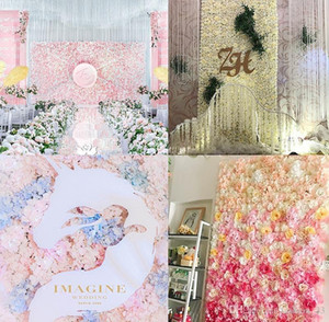 40x60cm 17 Colors Silk Rose Flower Wall Wedding Decoration Backdrop Champagne Artificial Flower Flower Wall Romantic Wedding Decor YD0473