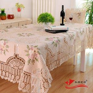 Handmade Crochet Toalha de Mesa, elegante rústico Europeia Floral Decoração de Mesa, Algodão, Linho, oco Out pano de tabela